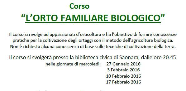 """Corso di Orticoltura """" L'Orto Familiare Biologico"""""""